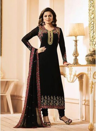 Black Color Georgette Base Designer Straight Cut Suit