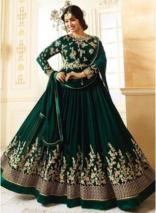 Designer Dark Green Heavy Border Floor Length Anarkali Suit