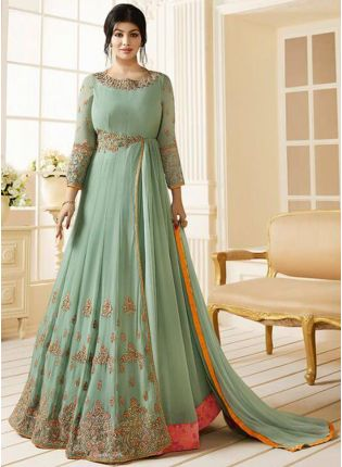 Light Blue Color Georgette Base Designer Ethnic Wear