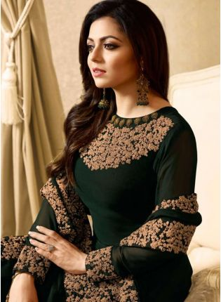 Dark Green Color Designer Heavy Embroidery Work Salwar Kameez Suit