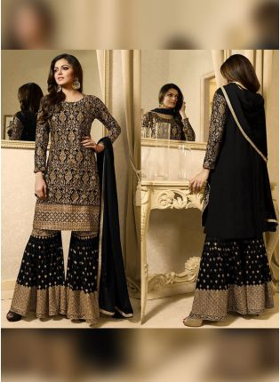 Designer Black Color Heavy Embroidery Work Sharara Suit