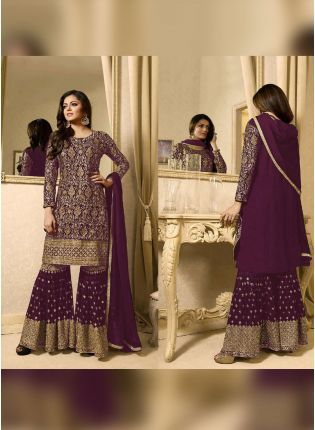 Designer Purple Color Heavy Embroidery Work Sharara Suit