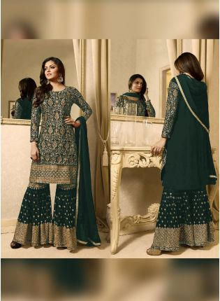 Designer Dark Green Color Heavy Embroidery Work Sharara Suit