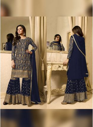 Designer Dark Blue Color Heavy Embroidery Work Sharara Suit