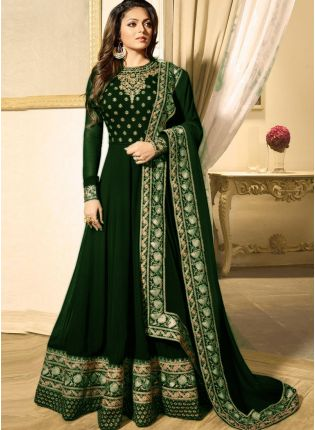 Dark Green Color Heavy Embroidered Work Designer Anarkali Suit