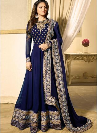 Navy Blue Color Heavy Embroidered Work Designer Anarkali Suit