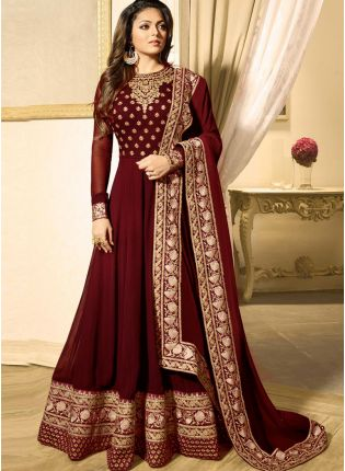 Maroon Color Heavy Embroidered Work Designer Anarkali Suit