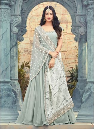 Grey Color Georgette base Party Wear Anarkali Suit