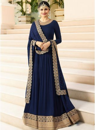Latest Designer Georgette Base Navy Blue Color Anarkali Suit