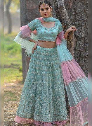 Elegant Teal Green Soft Net Base Trendy Ceremonial Lehenga Choli
