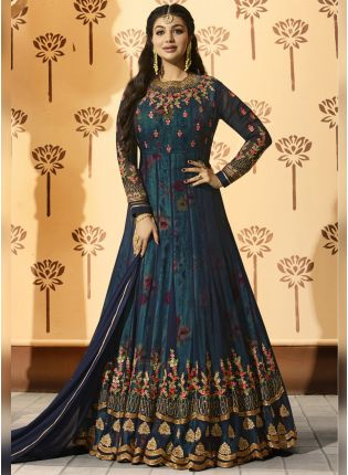 Navy Blue Printed Georgette Base Wedding Wear Anarkali Suit