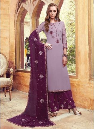 Purple Color Party Wear Heavy Embroidered Work Sharara Suit