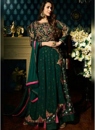 Dark Green Color Party Wear Salwar Kameez Suit