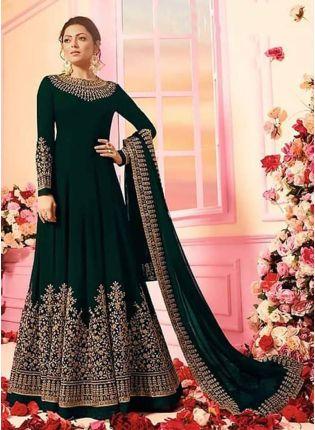 bottle Green Color Georgette Base Designer Wedding Wear Anarkali Suit
