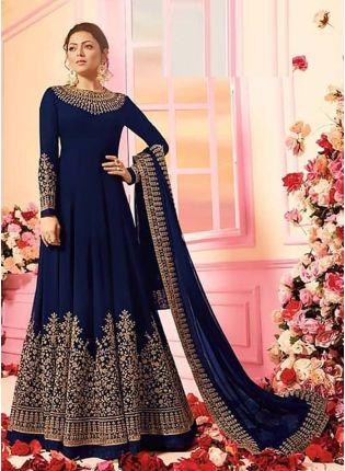 Navy Blue Color Georgette Base Designer Wedding Wear Anarkali Suit