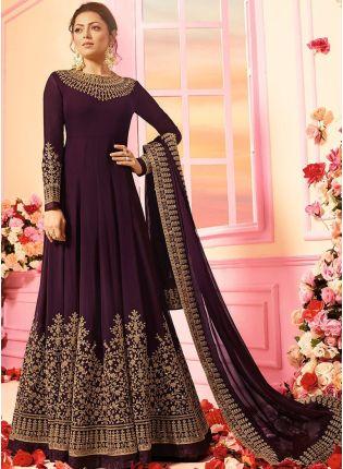 Dark Purple Color Georgette Base Designer Wedding Wear Anarkali Suit