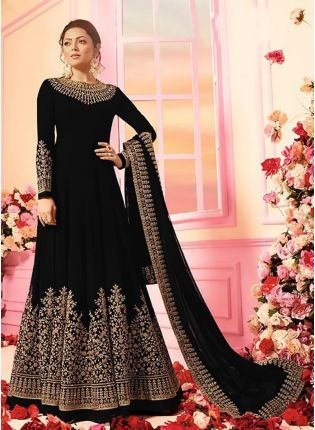 Black Color Georgette Base Designer Wedding Wear Anarkali Suit