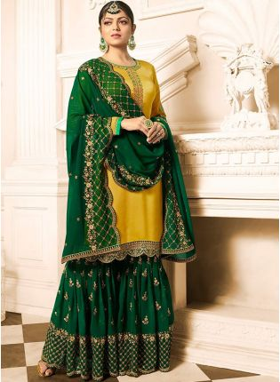 Glossy Yellow Color Wedding Wear Sharara Suit