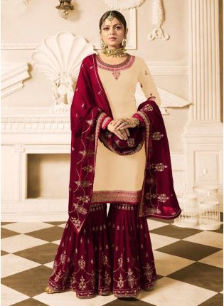 Cream Color Wedding Wear Heavy Embroidered Sharara Suit
