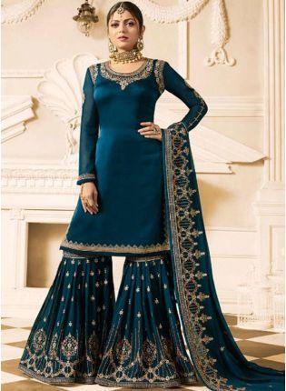 Stylish Heavy Designer Blue Color Sharara Suit
