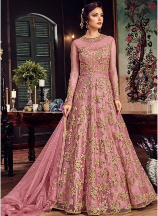 Light Pink Designer Party Wear Net Base Embroidery Work Anarkali Suit