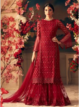 Dark Maroon Color Stylish Net Base Sharara Suit