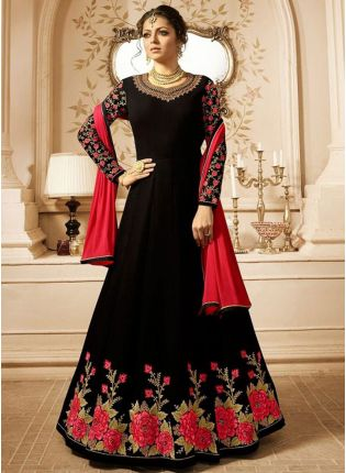 Black Color Party Wear Floral Design Anarkali Suit