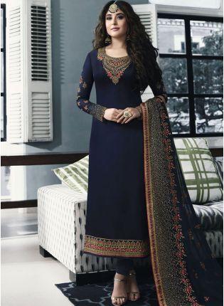 Navy Blue Color Party Wear Georgette Base Salwar Kameez Suit