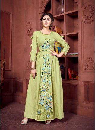 Khakhi Color Designer Party Wear Kurti