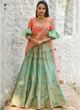 Phenomenal Pista Green Silk Base Trendy Flared Lehenga Choli