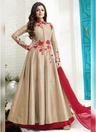 Effortless Beige Color Designer Wedding Wear Salwar Kameez Suit