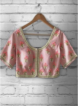 Baby Pink Color Emboidered Worked Blouse