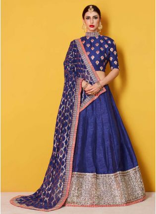 Navy Blue Butti Work Lehenga Choli Set For Women