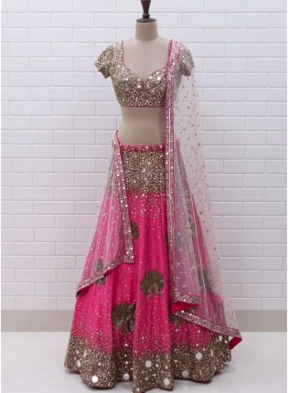 Pink Color Party Wear Designer Georgette Base Lehenga Choli