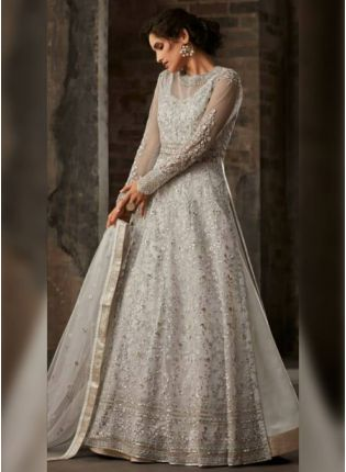 Grey Satin Resham Pakistani Lehenga Suit for ceremonies