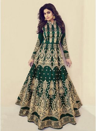 Bottle Green Color Silk Base Wedding Wear Heavy Embroidery Work Gown