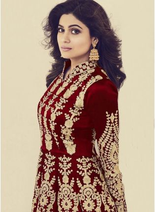 Maroon Color Silk Base Wedding Wear Heavy Embroidery Work Gown