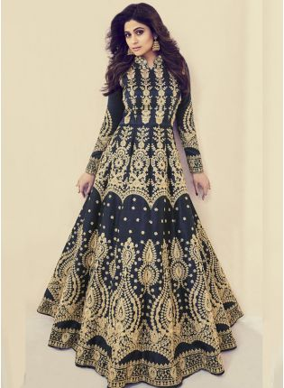 Navy Blue Color Silk Base Wedding Wear Heavy Embroidery Work Gown