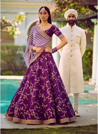 Purple Color Embroidery Sequence Work Designer Lehenga Choli