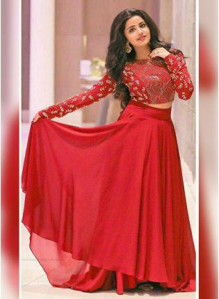 Blood Red Color Designer Crop Top