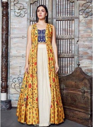 Yellow Color Digital Printed Party Wear Indowestern