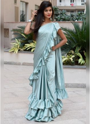 Light Pista Color Party Wear Ruffle Saree
