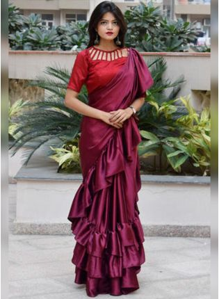 Dark Magenta Color Party Wear Ruffle Saree