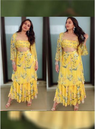 Mustered Yellow Color Designer Georgette Base Indowestern