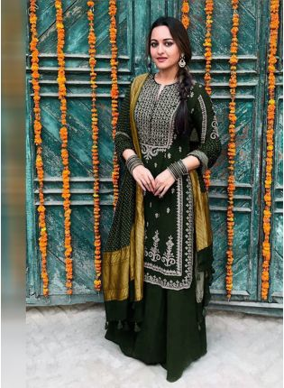Dark Green Color Party Wear Georgette Base Palazzo Suit