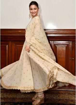 Beige Color Wedding Wear Designer Anarkali Suit