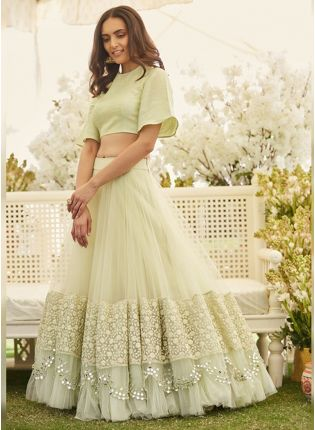 Pastel Green Color Party Wear Designer Net Base Lehenga Choli