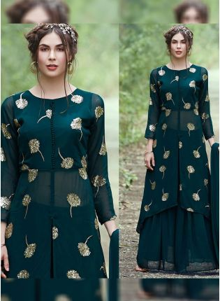 Dark Green Color Party Wear Designer Georgette Base Palazzo Suit