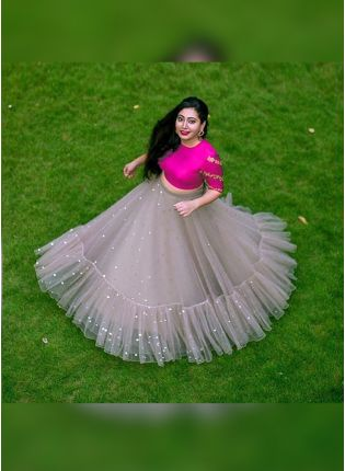 Grey Color Party Wear Designer Soft Net Base Lehenga Choli