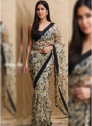 Black Color Party Wear Georgette Base Digital Printed Saree